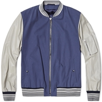 Lanvin Leather Sleeve Varsity Jacket Navy And Taupe