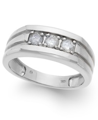 Macy's Men's Three Stone Diamond Ring In 14K White Gold 1 2 Ct. T.W.