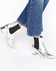 Truffle Collection Point Toe Mid Heel Boots Silver Pu Black