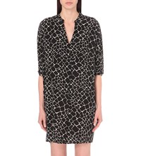 Whistles Giraffe Print Woven Dress Black