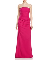 Nicole Miller Ruched Strapless Gown Pinkberry