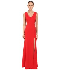 Marchesa Sleeveless Crepe Gown With Slit And Illusion Re Embroidered Lace Cut Outs