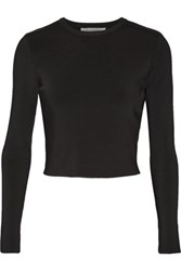 Alexis Marina Cropped Stretch Jersey Top Black