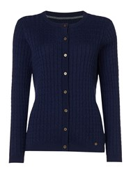 Dickins And Jones Claire Cable Knit Cardigan Navy