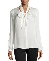 Escada Long Sleeve Tie Neck Silk Blouse Women's