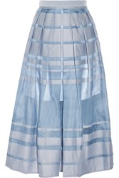 Tibi Silk Organza Trimmed Cotton And Silk Blend Midi Skirt Blue