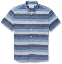 Rag And Bone Striped Cotton And Linen Blend Shirt