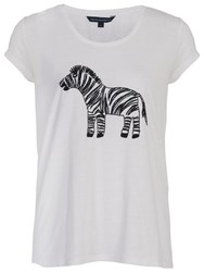 French Connection Zebbie Embellished T Shirt Winter White