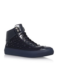 Jimmy Choo Argyle Patent Star High Top Sneakers Male Navy
