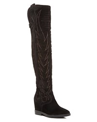 Ash Gaucho Over The Knee Pointed Toe Boots Black