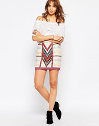Pepe Jeans Canvas Mini Skirt With All Over Beading Natural Cream