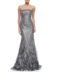 Rene Ruiz Strapless Pailette Gown With Ruffle Hem Silver