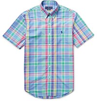 Polo Ralph Lauren Slim Fit Button Down Collar Checked Cotton Poplin Shirt Blue