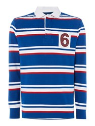 Howick Active Stripe Long Sleeve Rugby Shirt Blue