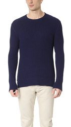 Ovadia And Sons Side Zip Crew Sweater Navy