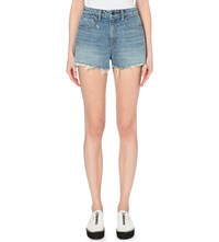 Alexander Wang Bite Cut Off Denim Jeans Light Indigo Aged