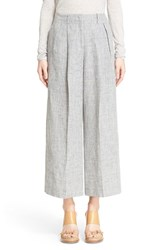 Women's Michael Kors Pleated Crop Melange Linen Pants Pearl Grey Melange