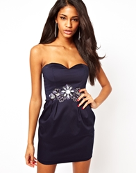 Elise Ryan Embellished Bandeau Tulip Dress Navy