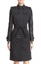 Women's Burberry Brit Belted Leather Sleeve Trench Coat