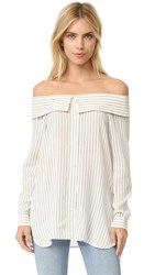 Tibi Off Shoulder Men's Shirt Ivory Black Multi