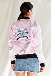 Urban Renewal Recycled Embroidered Satin Bomber Jacket Pink