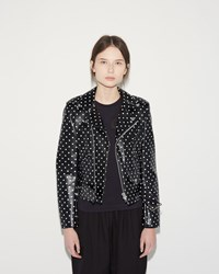 Comme Des Garcons Dot Print Moto Jacket Black White