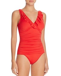 Ralph Lauren Beach Ruffled One Piece Swimsuit Red Orange
