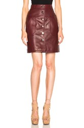 Carven Leather Button Down Skirt In Red