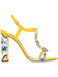 Dolce And Gabbana 'Keira' High Sandals Yellow And Orange