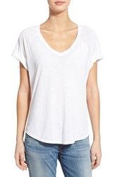 Women's Splendid Double V Neck Cotton Tee Paper
