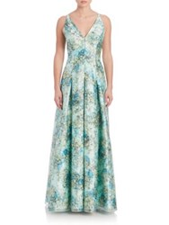Aidan Mattox Pleated Floral Overlay Gown Turquoise Multi