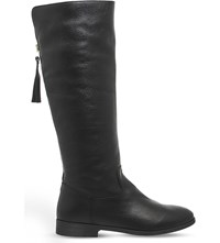 Office Ecru Leather Boots Black Leather