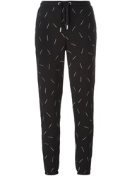Zoe Karssen Embroidered Match Track Pants Black