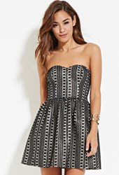 Forever 21 Sheeny Embroidered A Line Dress Black Gold