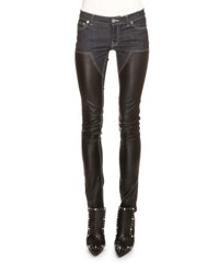 Givenchy Denim And Leather Slim Fit Jeans