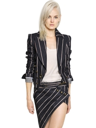 Anthony Vaccarello Striped Denim Jacket With Toggle Closure Blue Red