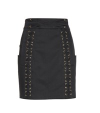 Balmain Embellished Cotton Miniskirt Black