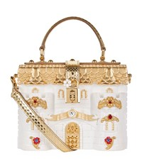 Dolce And Gabbana Baroque Floral Padlock Top Handle Bag Female White