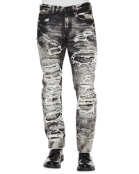 Prps Dalia Destroyed And Distressed Denim Jeans Black White