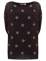 Mint Velvet Star Embroidered Cocoon T Shirt Grey