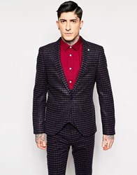 Noose And Monkey Brushed Check Suit Jacket With Stretch In Super Skinny Fit Navy