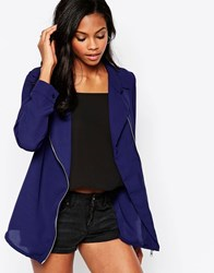 Goldie Jalouse Blouse With Front Zip Blue