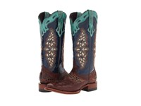 Lucchese M5802.Twf Sienna Full Quill Ostrich Navy Spyker Calf Cowboy Boots Multi