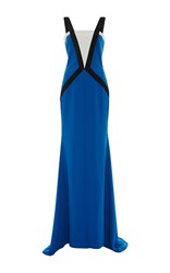 Elizabeth Kennedy Color Blocked Fitted Gown Blue Black White