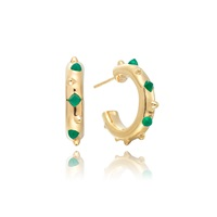 Kinnari Gold Small Crown Hoop Earrings Agate Gold Green