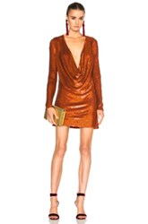Ashish Drape Front Mini Dress In Orange Metallics Orange Metallics