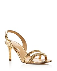 Michael Michael Kors Jackie Metallic Snake Embossed Mid Heel Sandals Pale Gold