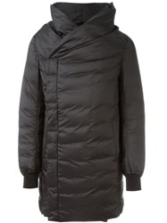 Rick Owens Shawl Collar Padded Coat Black