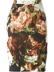 Philipp Plein Floral Skull Print Pencil Skirt Multicolour