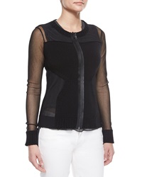 Elie Tahari Maura Rib Trim Sheer Sweater Black